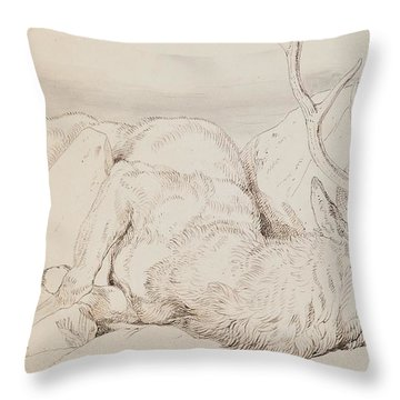 A Dead Stag Throw Pillow by Sir Edwin Landseer