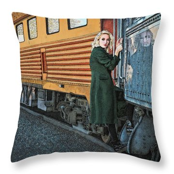 Throw Pillow featuring the drawing A Departure by Meg Shearer