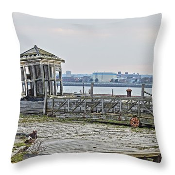 A Derelict Kiosk On A Disused Quay In Liverpool Throw Pillow