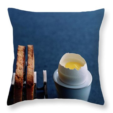 A Dessert Made To Look Like An Egg And Toast Throw Pillow