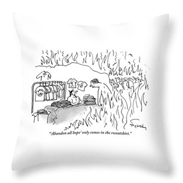 A Devil-like Figure In Hell Sells T-shirts Throw Pillow