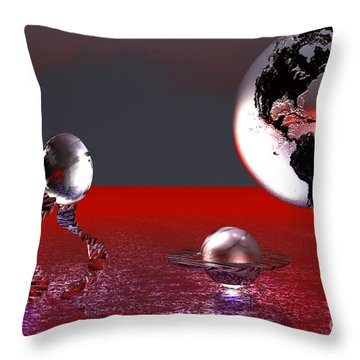 Throw Pillow featuring the digital art A Different World by Jacqueline Lloyd