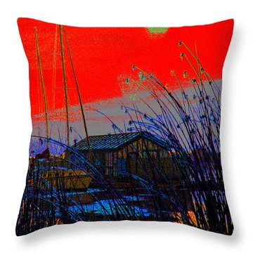 A Digital Marina Sunset Throw Pillow