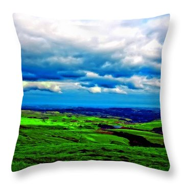 A Digitally Constructed Painting Of The Yorkshire Moors Throw Pillow