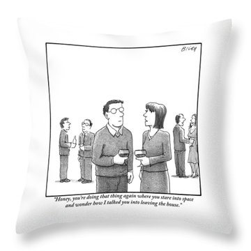A Disgruntled-looking Woman Speaks To Her Husband Throw Pillow