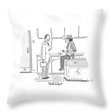 A Doctor Addresses His Patient Who Is A Cowboy Throw Pillow