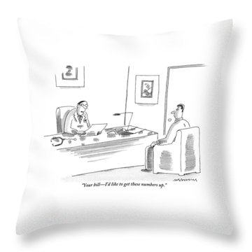 A Doctor Is Seen Talking To A Man In His Office Throw Pillow
