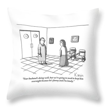A Doctor Is Seen Talking To A Woman Throw Pillow