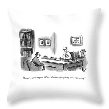 A Doctor Speaks To A Patient In His Office Throw Pillow