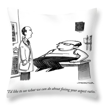 A Doctor Speaks To A Patient Whose Dimensions Throw Pillow