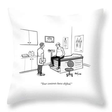 A Doctor Talks To An Old Man With A Gut Throw Pillow