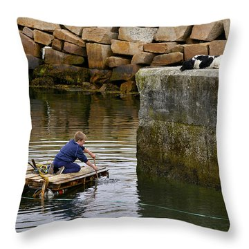 A Dog And His Boy Throw Pillow