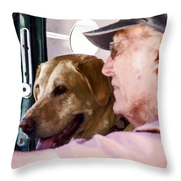 Throw Pillow featuring the digital art A Dog And His Man by Photographic Art by Russel Ray Photos
