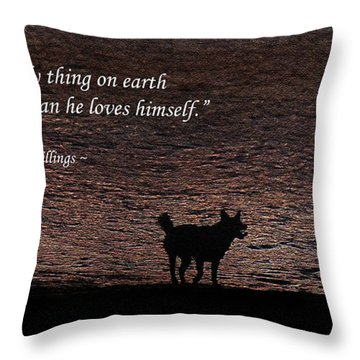 Throw Pillow featuring the photograph A Dog by Ola Allen