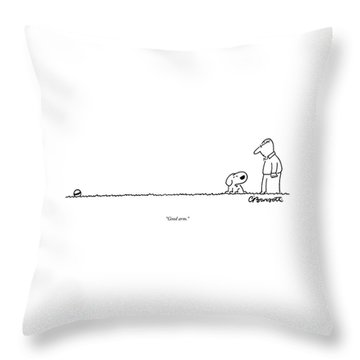 A Dog Speaks To A Man Throw Pillow