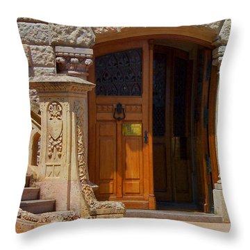 A Door In Monaco Throw Pillow by Christine Burdine