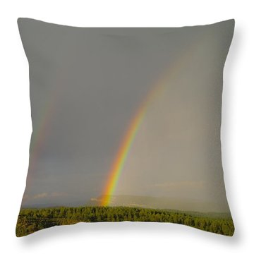 A Double Rainbow Near Durango Throw Pillow by Jeff Swan