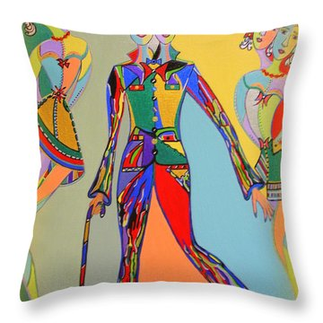 Throw Pillow featuring the painting Men's Fantasy by Marie Schwarzer