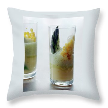A Drink With Asparagus Throw Pillow by Romulo Yanes
