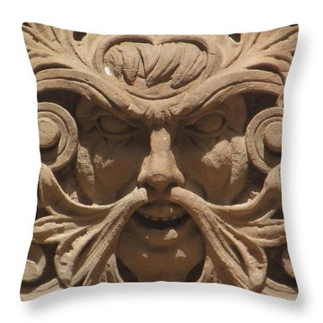 A Face In Stone Throw Pillow