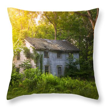 A Fading Memory One Summer Morning - Abandoned House In The Woods Throw Pillow by Gary Heller
