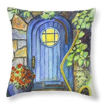 Throw Pillow featuring the painting A Fairys Door by Carol Wisniewski