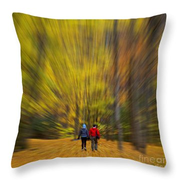 Throw Pillow featuring the photograph A Fall Stroll Taughannock by Jerry Fornarotto