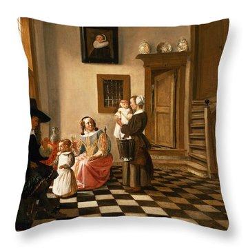 A Family In An Interior Throw Pillow