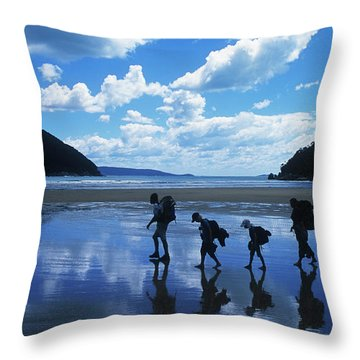 A Family Of Hikers Walks Throw Pillow