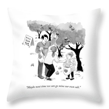 A Family Picks Apples Right From The Tree Throw Pillow