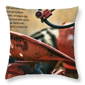 A Farmer And His Tractor Poem Throw Pillow