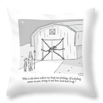 A Farmer Shows His Son A Barn That Is Locked Throw Pillow