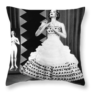 A Fashionable Mannequin And Her Unclothed Version In The Backgro Throw Pillow