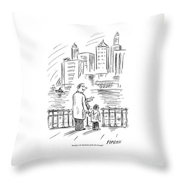 A Father And Son In Brooklyn Look Throw Pillow