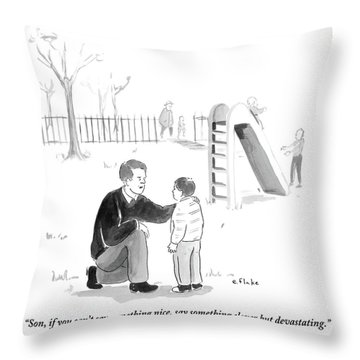 A Father Encourages His Son At The Playground Throw Pillow