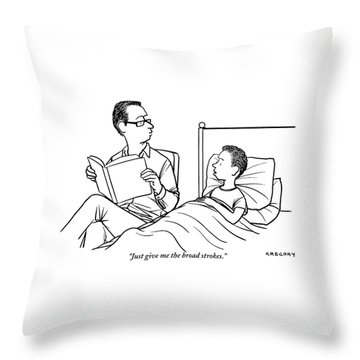 A Father Is Seen Reading A Book To His Son Who Throw Pillow
