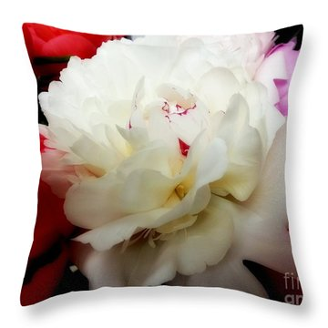 A Few Peonies Throw Pillow by Heather L Wright
