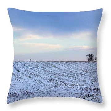 A Field In Iowa At Sunset Throw Pillow