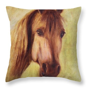 Throw Pillow featuring the painting A Fine Horse by Xueling Zou