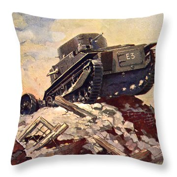 A First World War Tank Throw Pillow