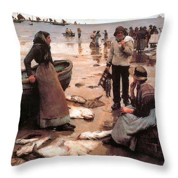 A Fish Sale On A Cornish Beach Throw Pillow