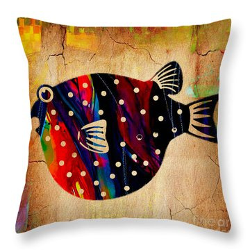 A Fish Tale Throw Pillow by Marvin Blaine