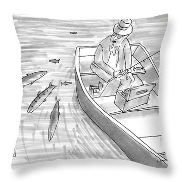 A Fisherman On A Rowboat Looks At The Fish Throw Pillow