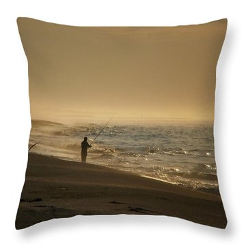 Throw Pillow featuring the photograph A Fisherman's Morning by GJ Blackman
