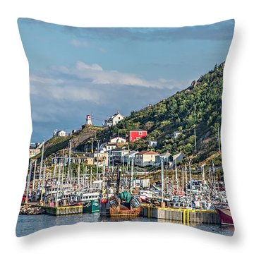 A Fishing Harbour In Newfoundland Canada Throw Pillow