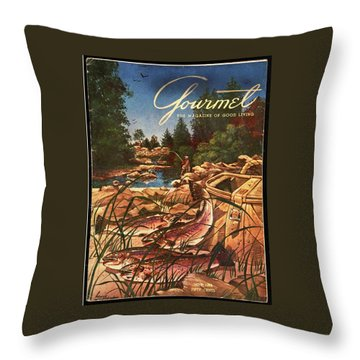 A Fishing Scene Throw Pillow