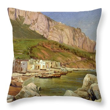 A Fishing Village At Capri Throw Pillow by Louis Gurlitt