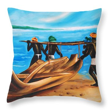 Throw Pillow featuring the painting A Float On The Ocean by Ragunath Venkatraman