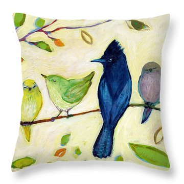 A Flock Of Many Colors Throw Pillow