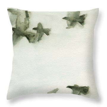 A Flock Of Pigeons 2 Watercolor Painting Of Birds Throw Pillow
